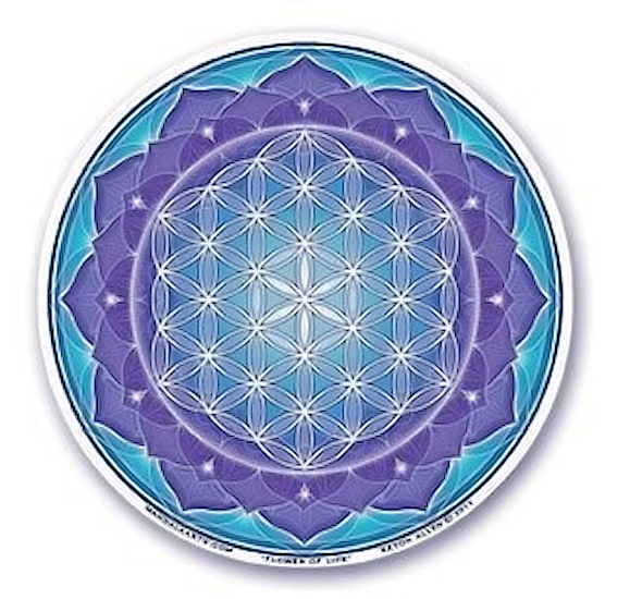 Okenní mandala Květ života, modrá 11cm