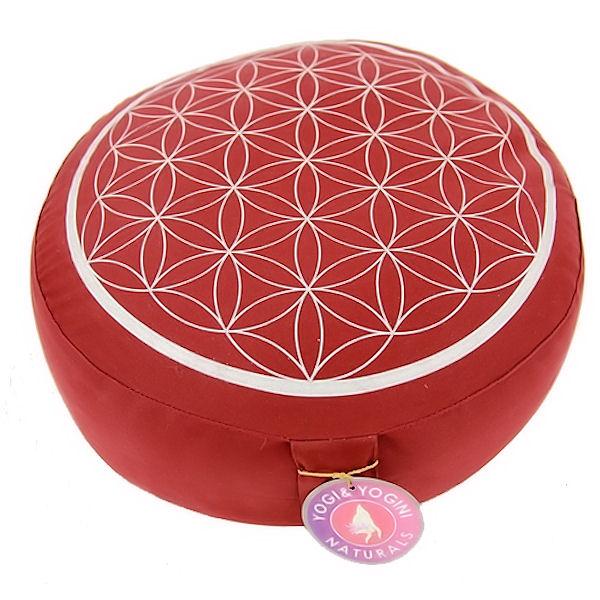 Meditační polštář Květ života, červená/stříbrná, 33cm