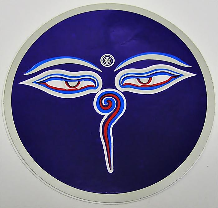 Samolepka Buddhovy oči, modrá 10cm