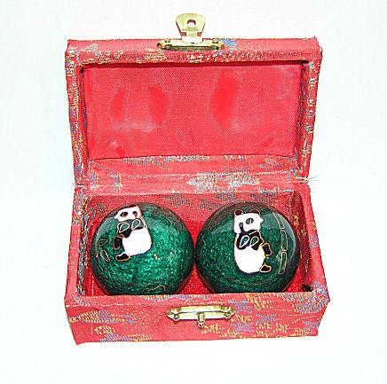 Čínské koule - zelené Panda, 40mm ((poškozené))