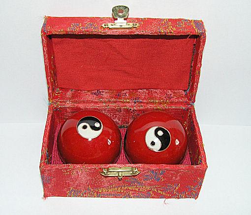 Čínské koule - červené, Jin Jang 45mm