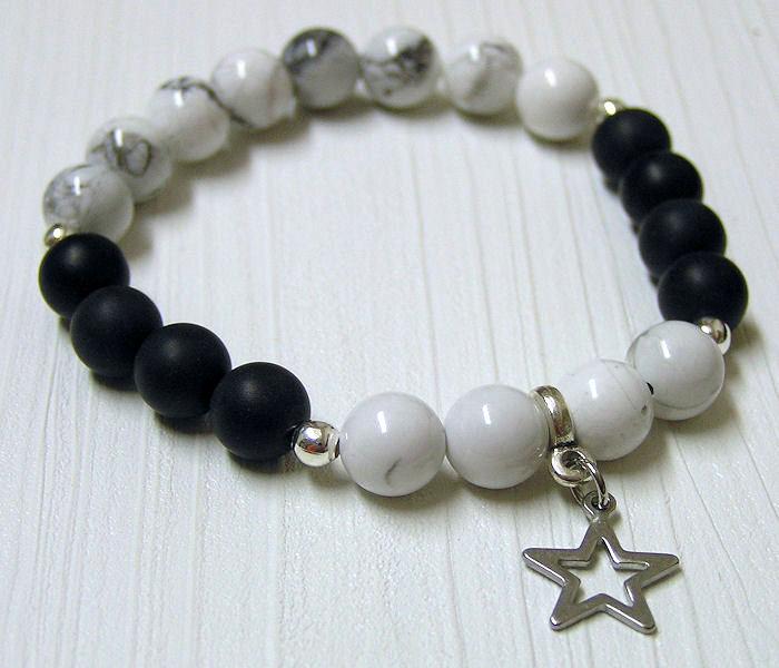 Náramek magnezit, černý onyx, hvězda