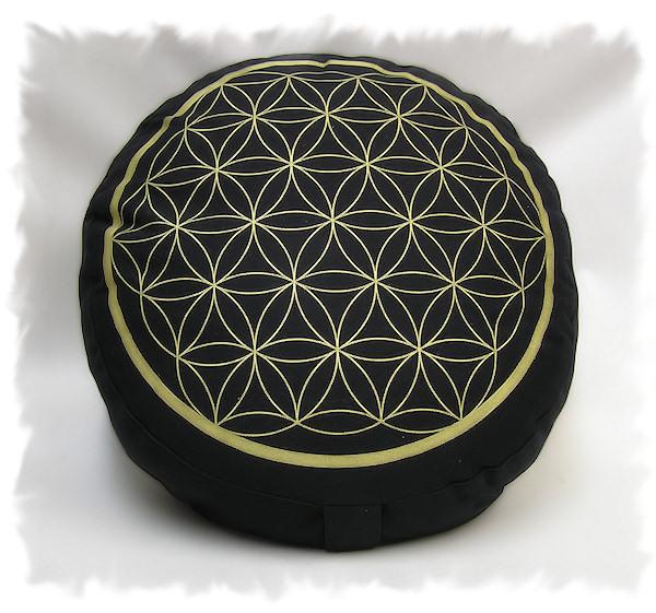 Meditační polštář Květ života, černá/zlatá, 33cm