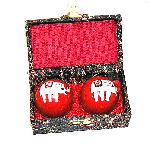 Čínské koule - červené, slon 35mm