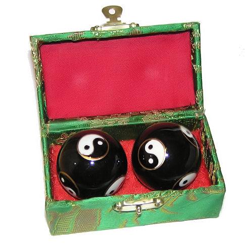Čínské koule - černé, Jin-Jang 35mm