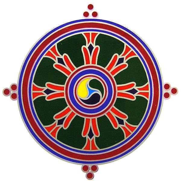 Okenní mandala Dharma Wheel 13cm