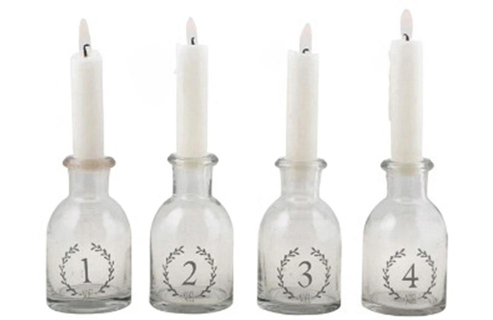 Skleněné lahvičky s čísly, set 4ks